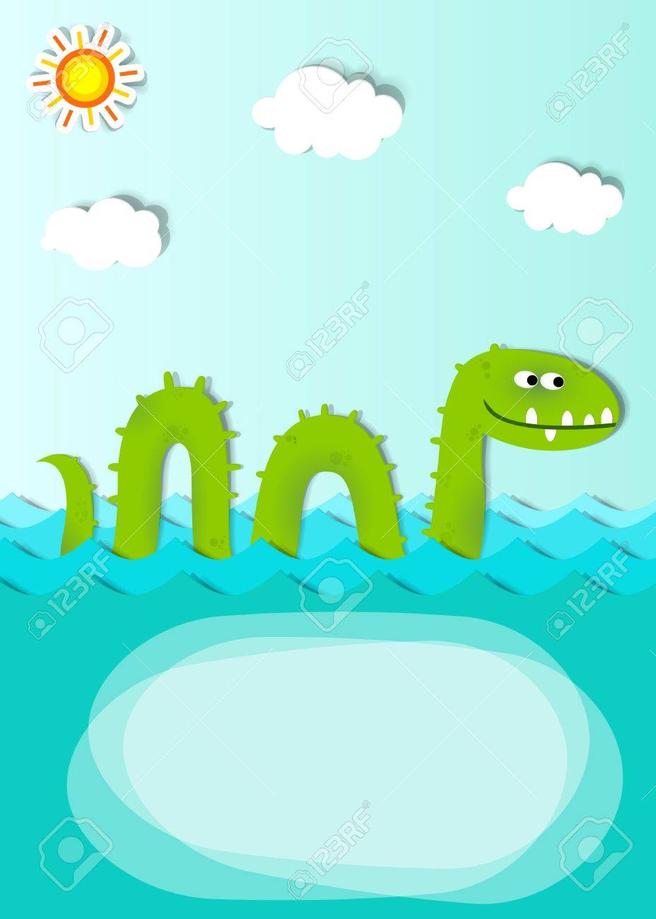 creative poster with sea monster - 12496547