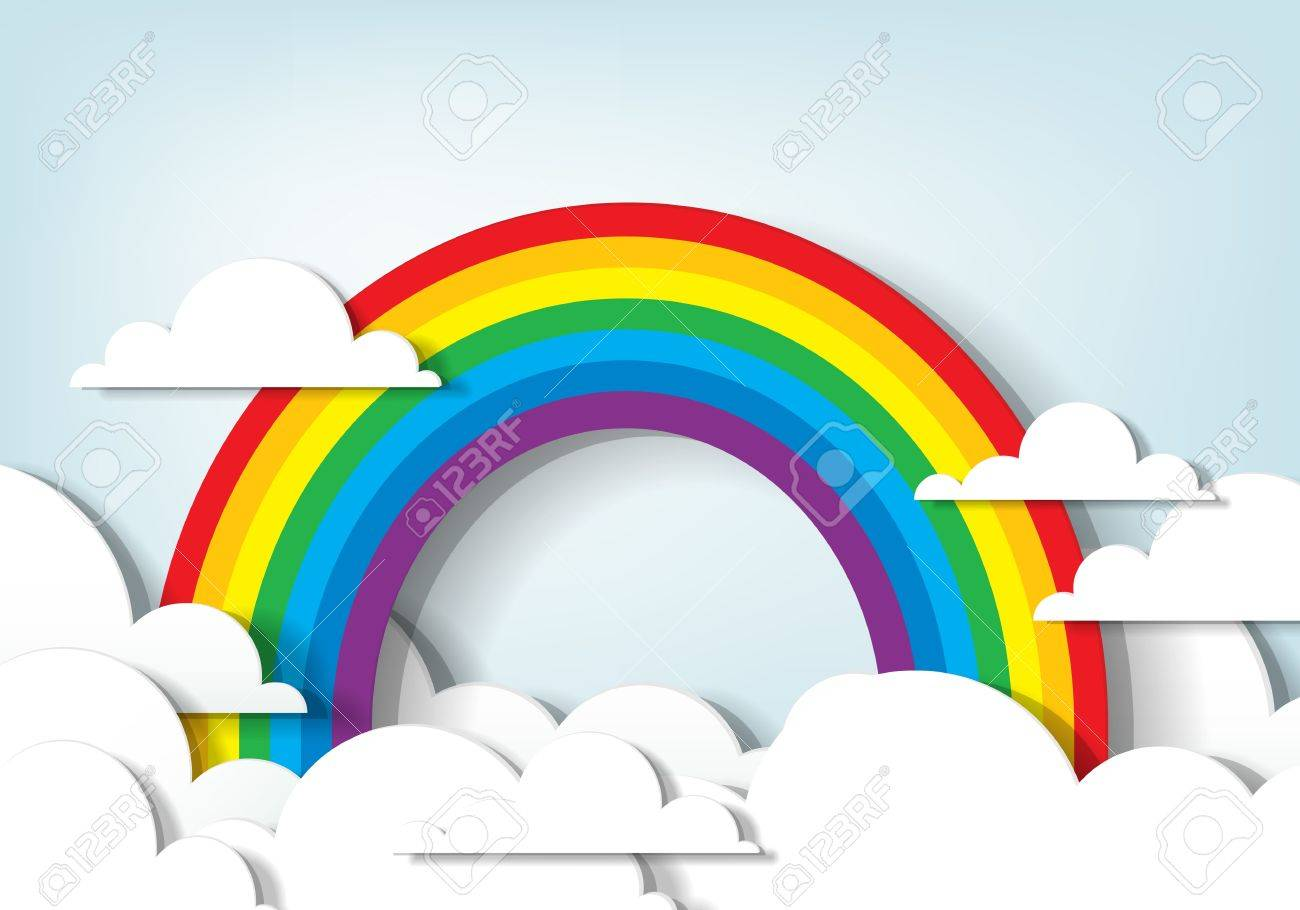 applique Rainbow and clouds - 14526235
