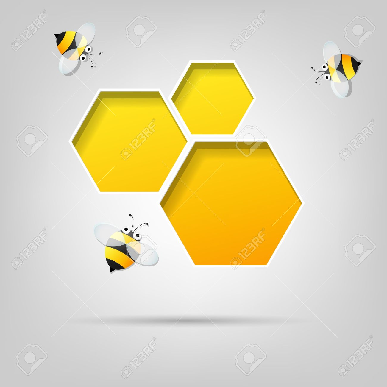 creative poster honeycomb and the bees - 15144246