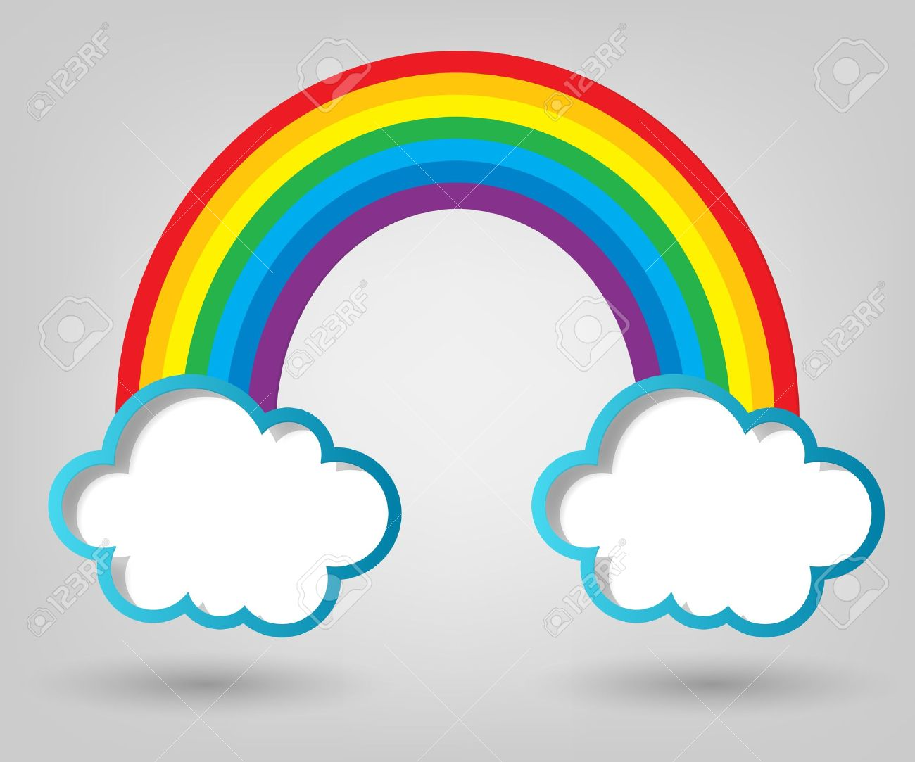 creative poster template clouds and rainbow royalty free cliparts