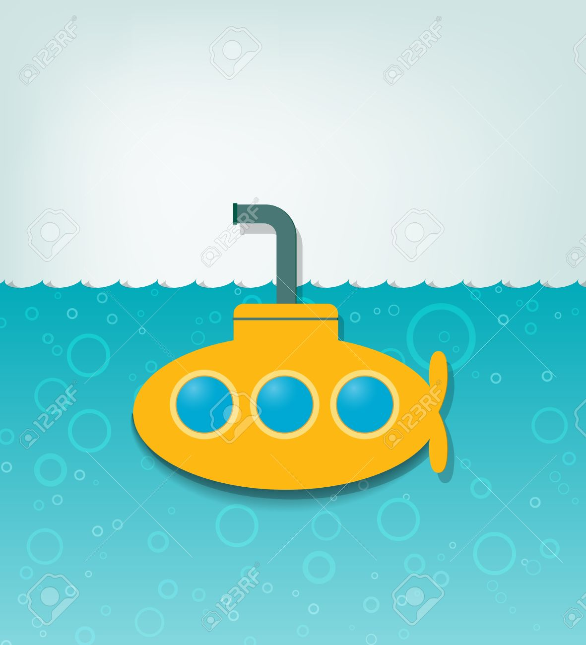 creative illustration with a yellow submarine - 15144243