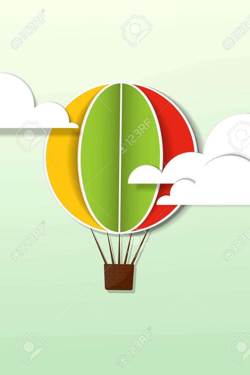 applique with hot air balloon in the sky Stock Vector - 15144286