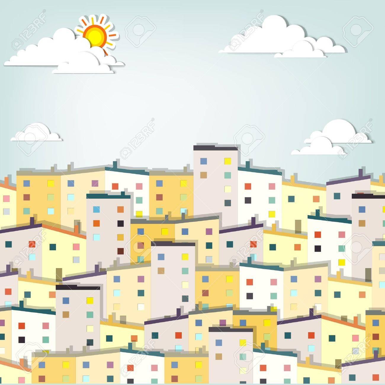 panorama town creative vector applique - 15402366