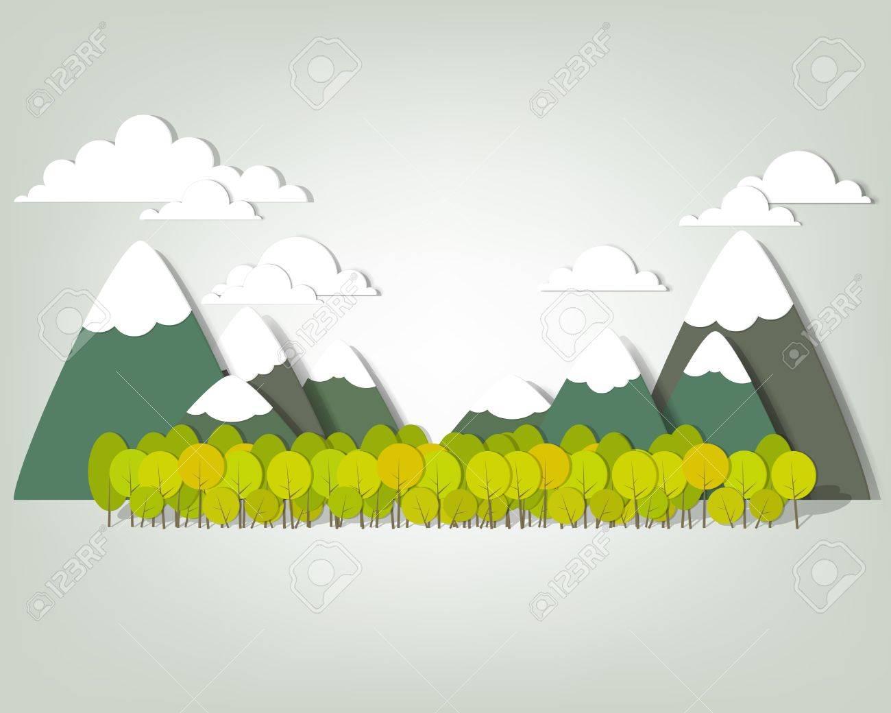 Mountain landscape creative vector applique - 15402371