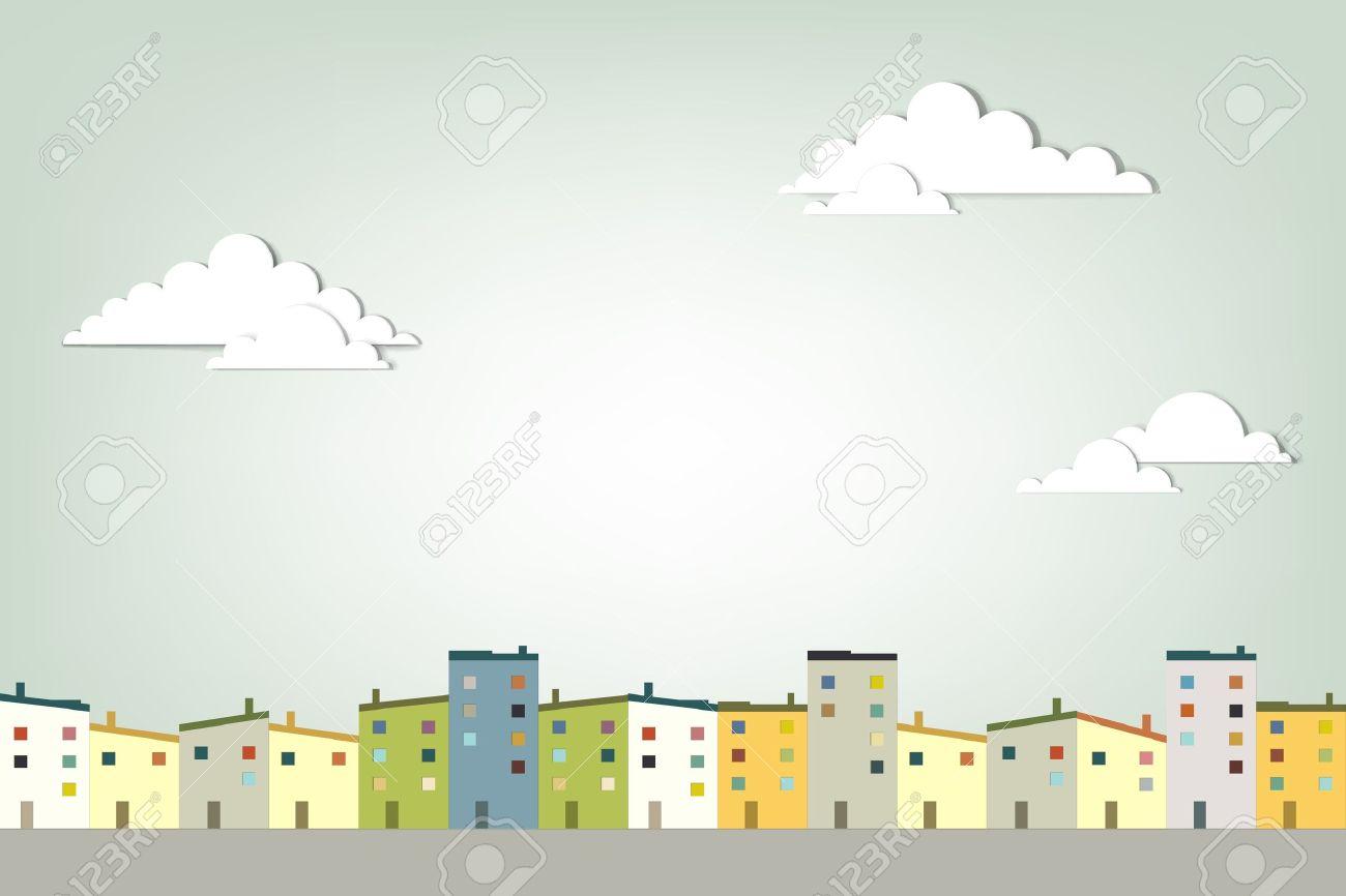 panorama town creative vector applique - 15402354