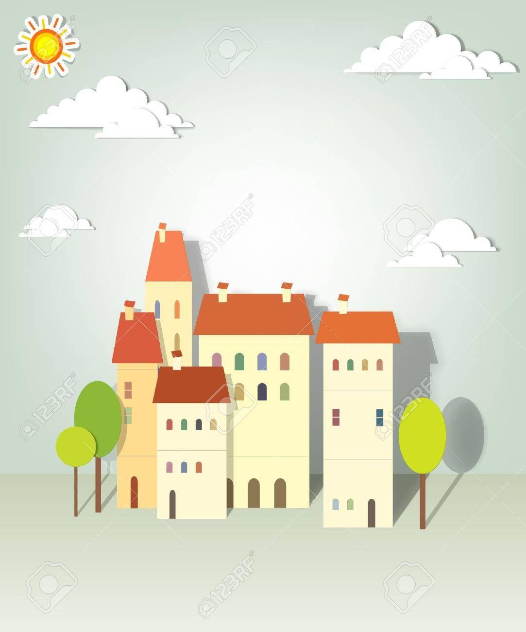 group paper townhouses creative vector applique - 15402370