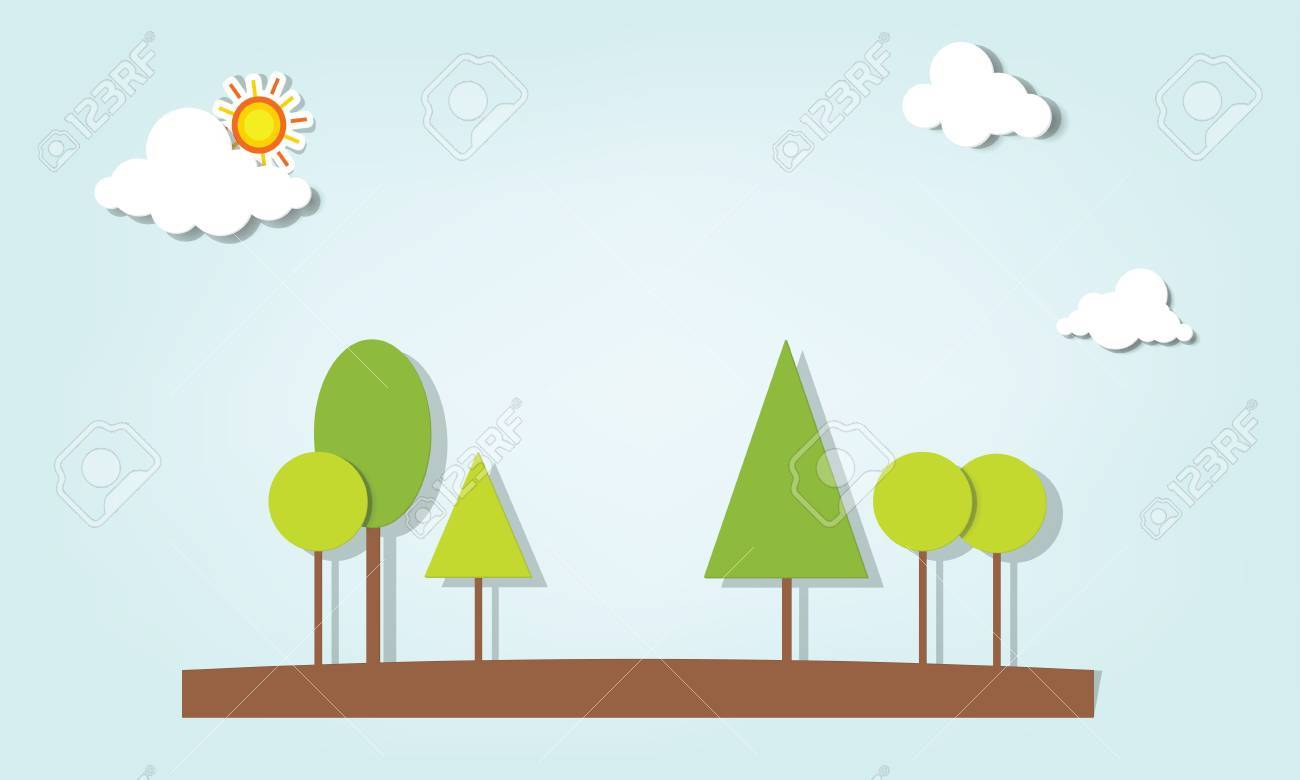 Vector applique. Trees under the clouds Stock Vector - 17843272