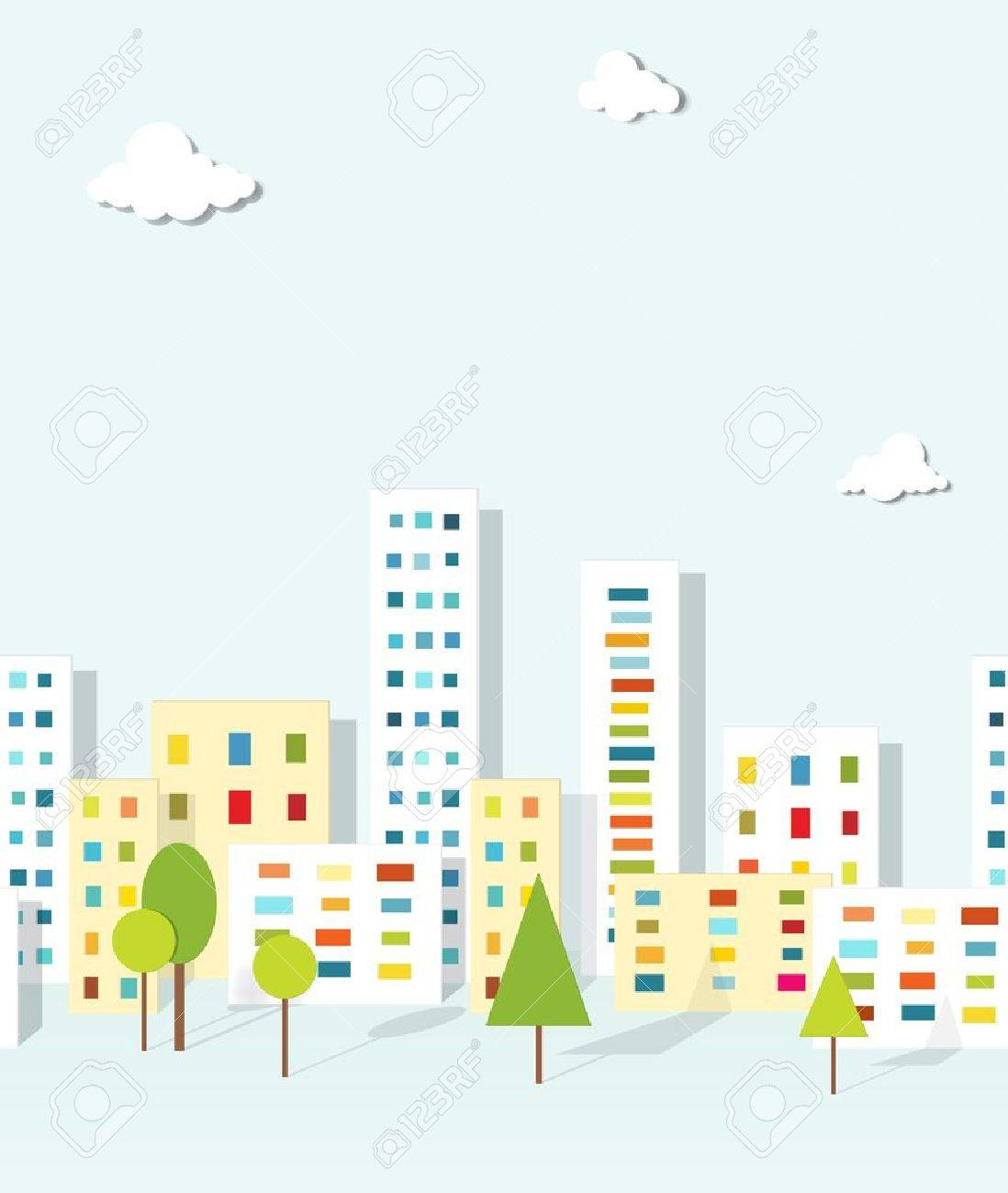 urban landscape seamless pattern - 19277964