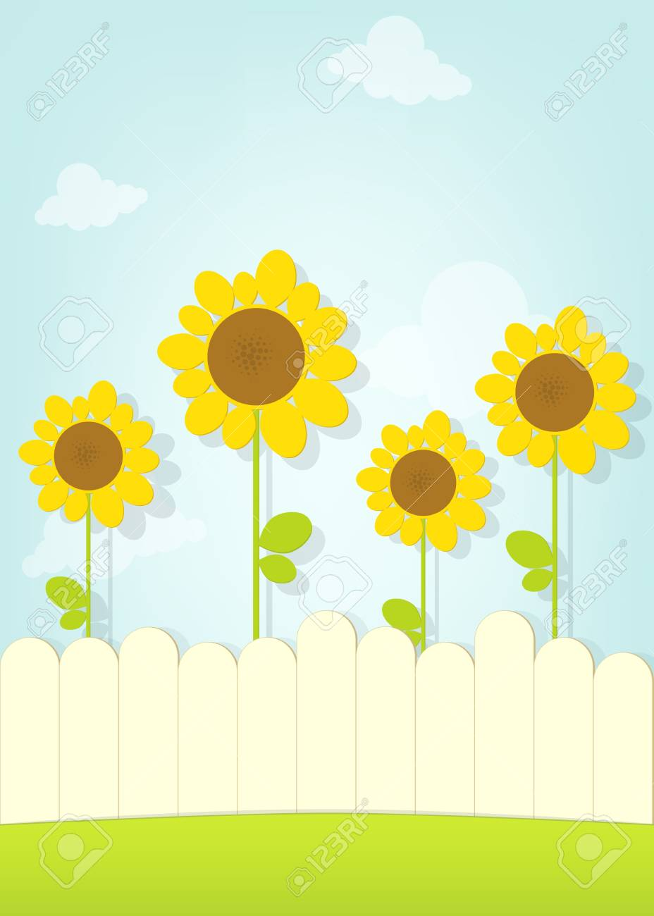 sunflowers behind fence Stock Vector - 21862994