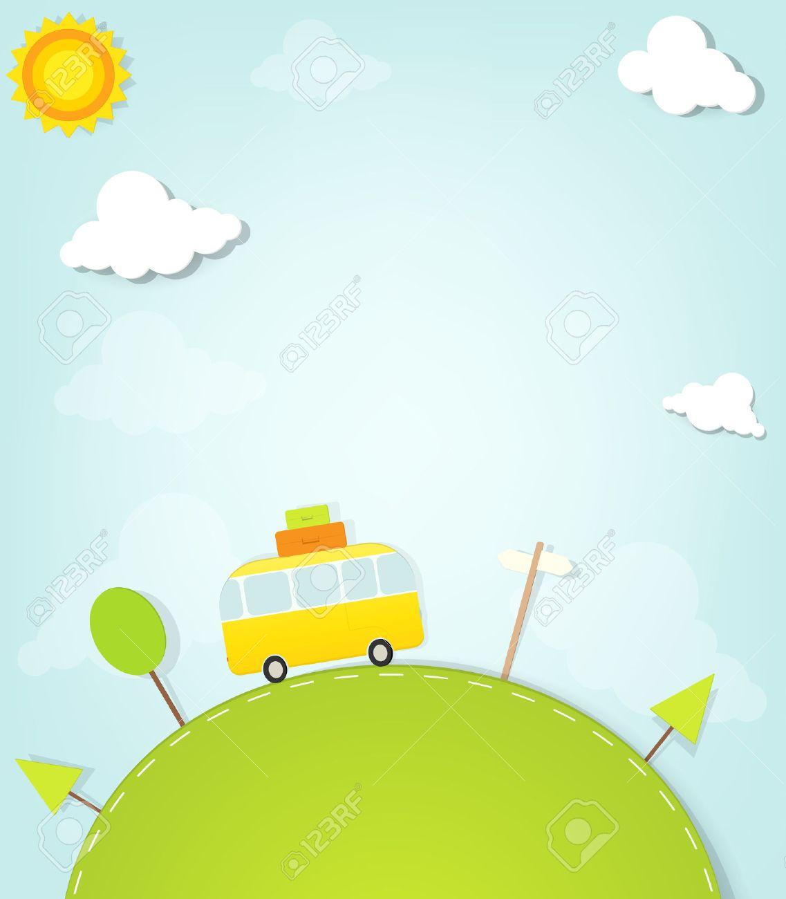 Cartoon minivan on the hill - 22439665