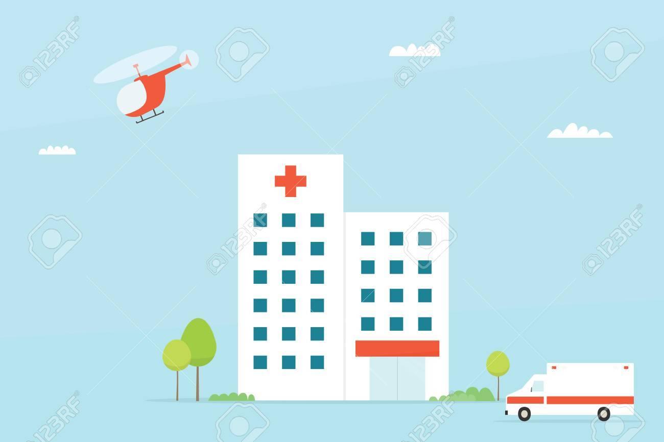 Hospital building. Simple flat image - 58966712