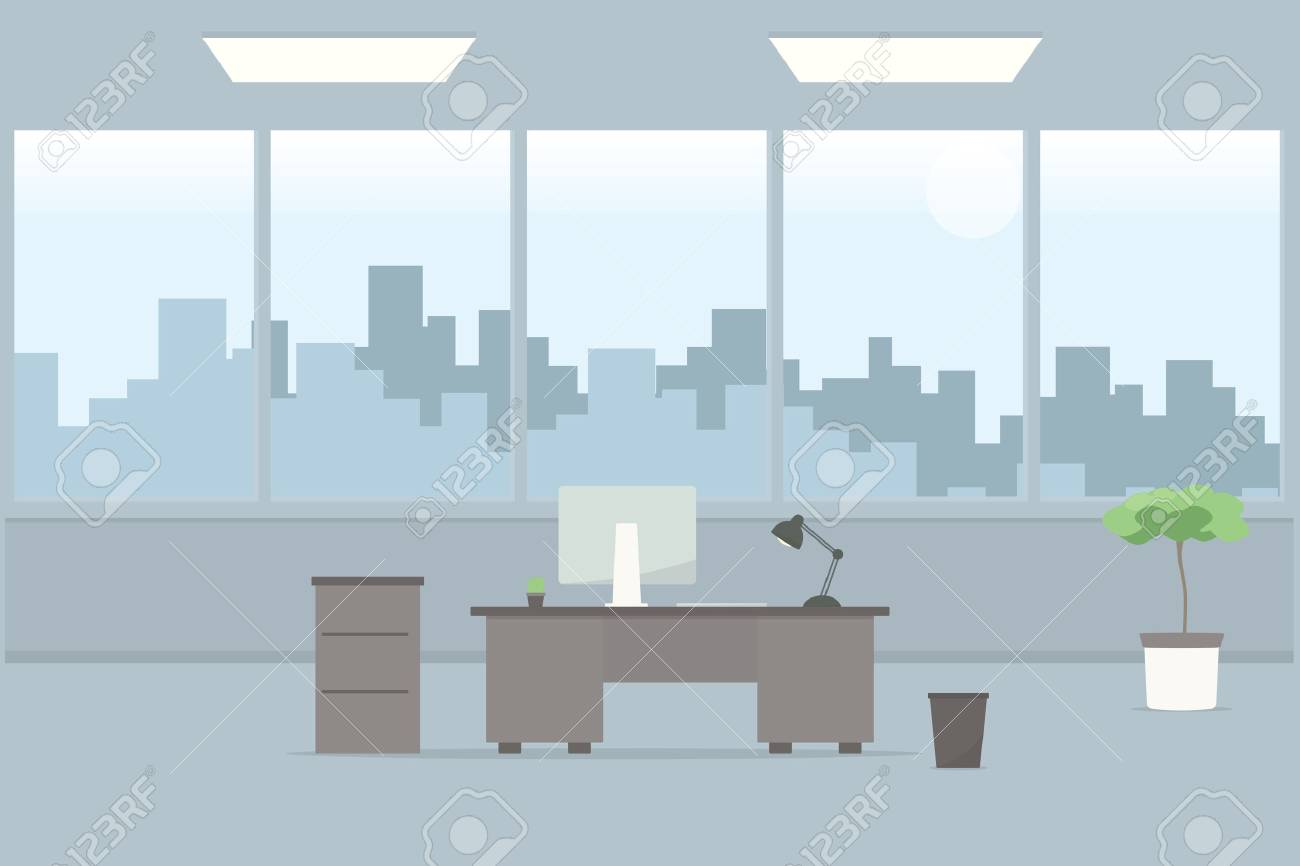 Table in office room. Cartoon flat image - 58966798