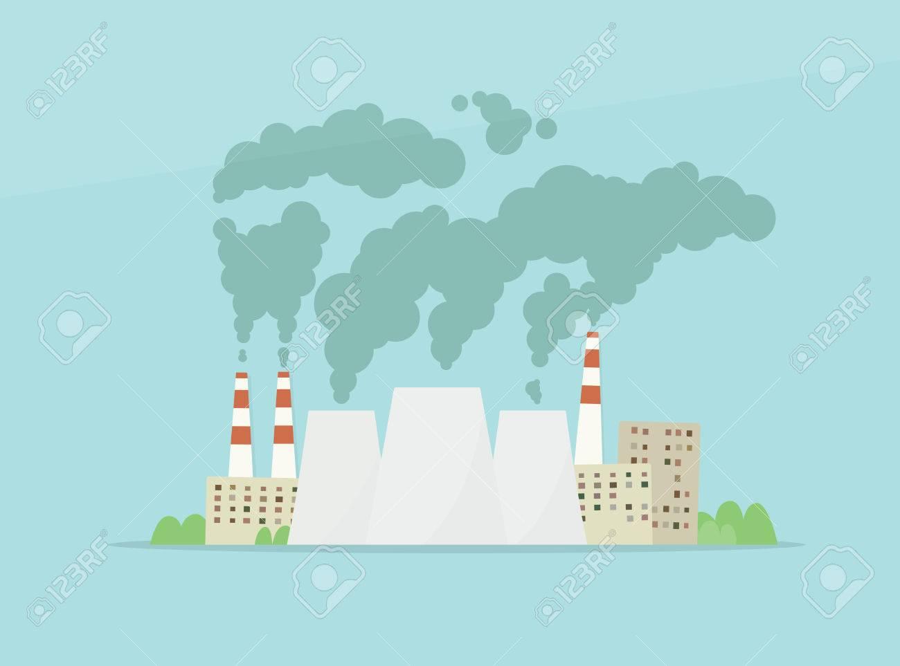 De Dibujos Animados Vector De Fábrica La Contaminación Del Aire