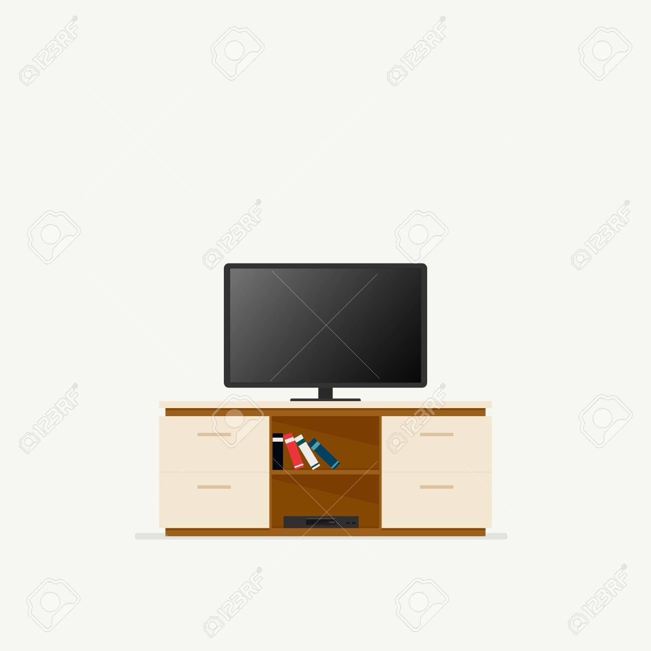 tv schrank vektorillustration lokalisiert auf weissem hintergrund standard bild 82231792