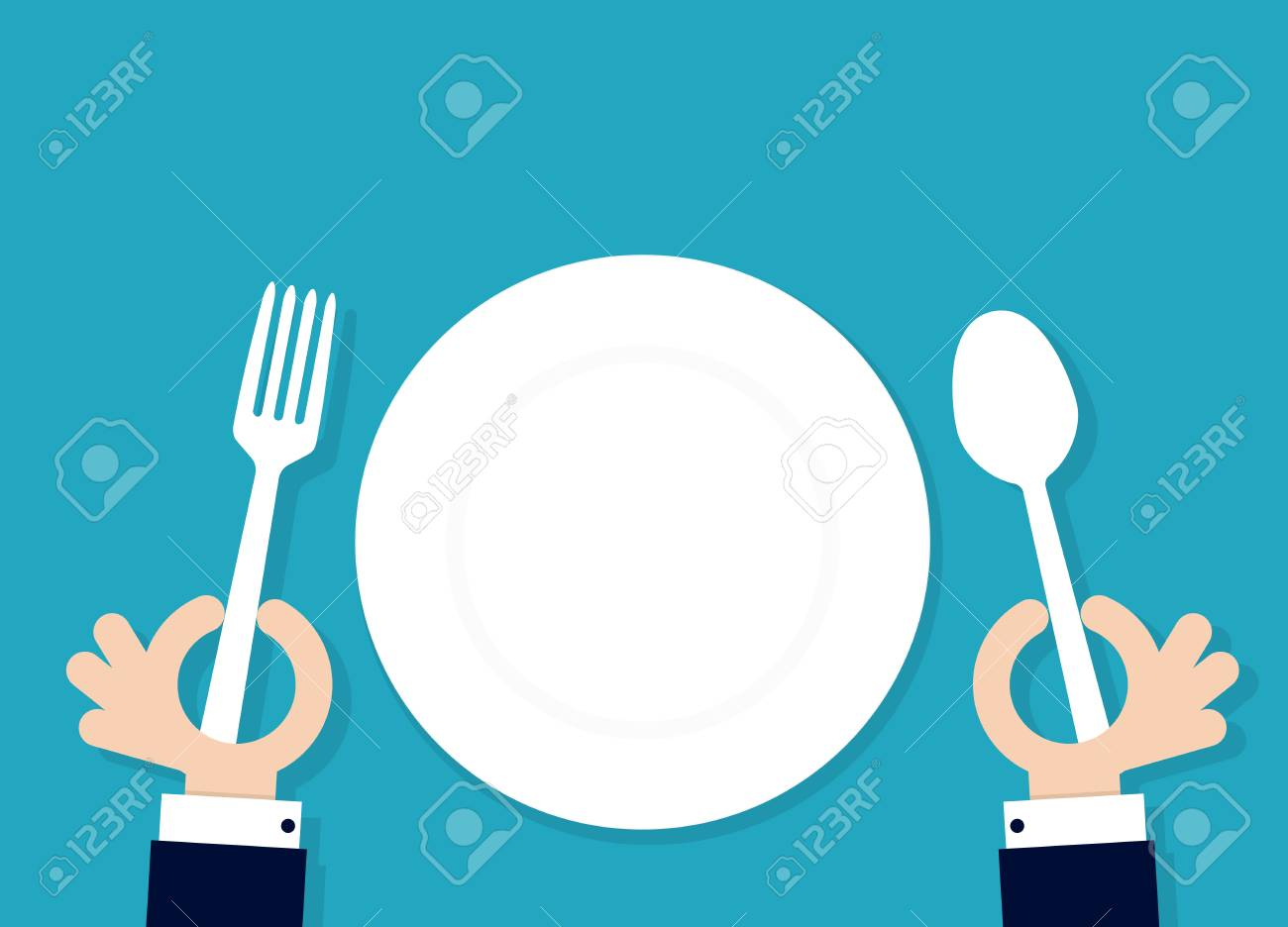 cartoon hahds holding fork and spoon with empty plate. Vector illustration - 82231800