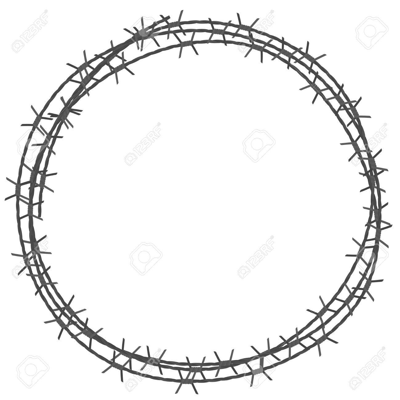 Barbed Wire Circle Border. Vector Illustration Isolated On White ...