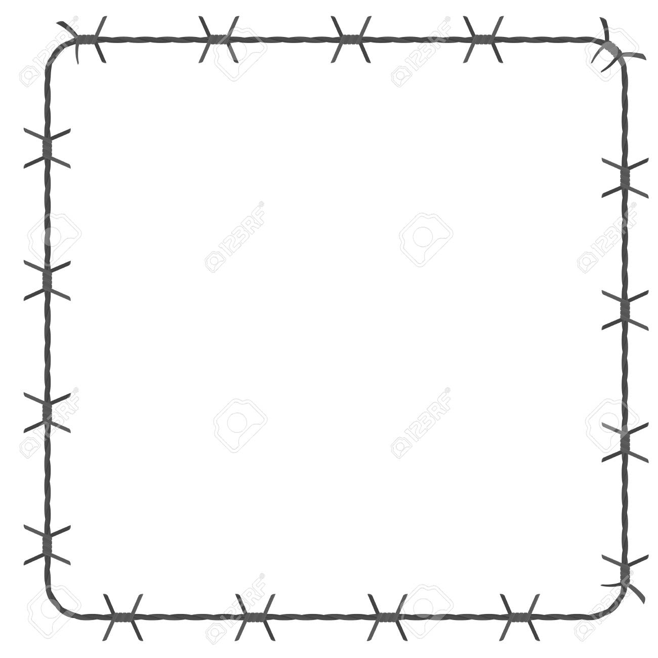 Barbed Wire Square Border. Vector Illustration Isolated On White ...