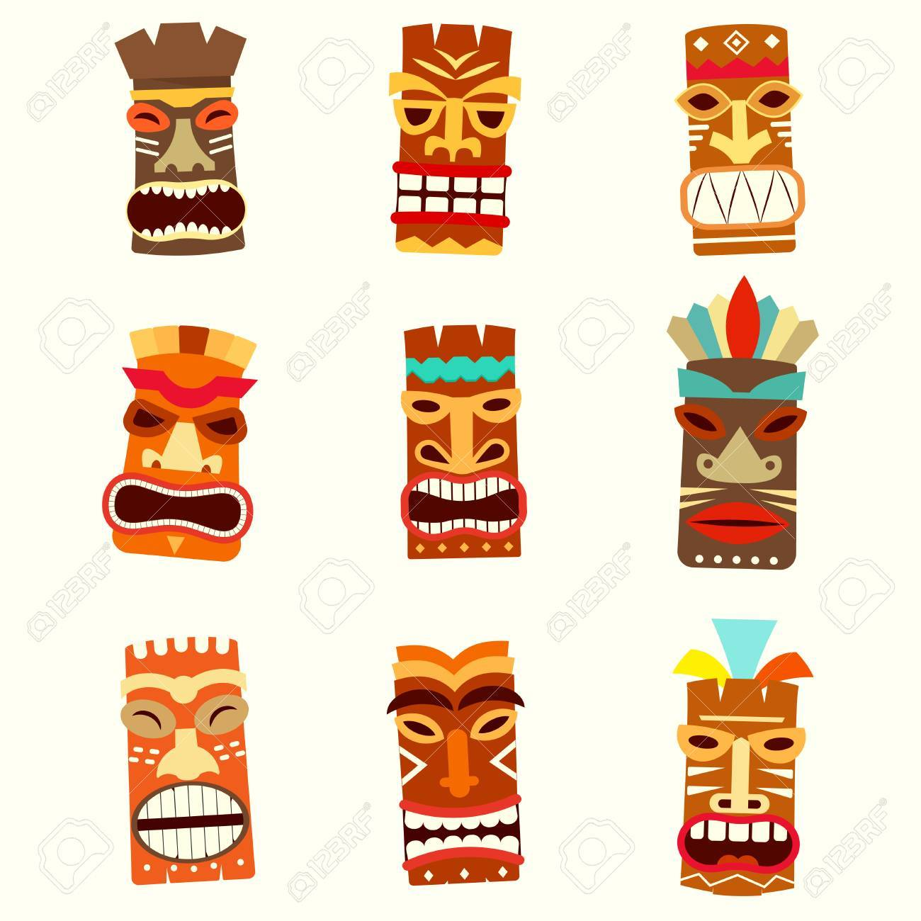 Tiki mask icon set royalty free cliparts vectors and stock tiki mask icon set stock vector 86990228 stopboris Images