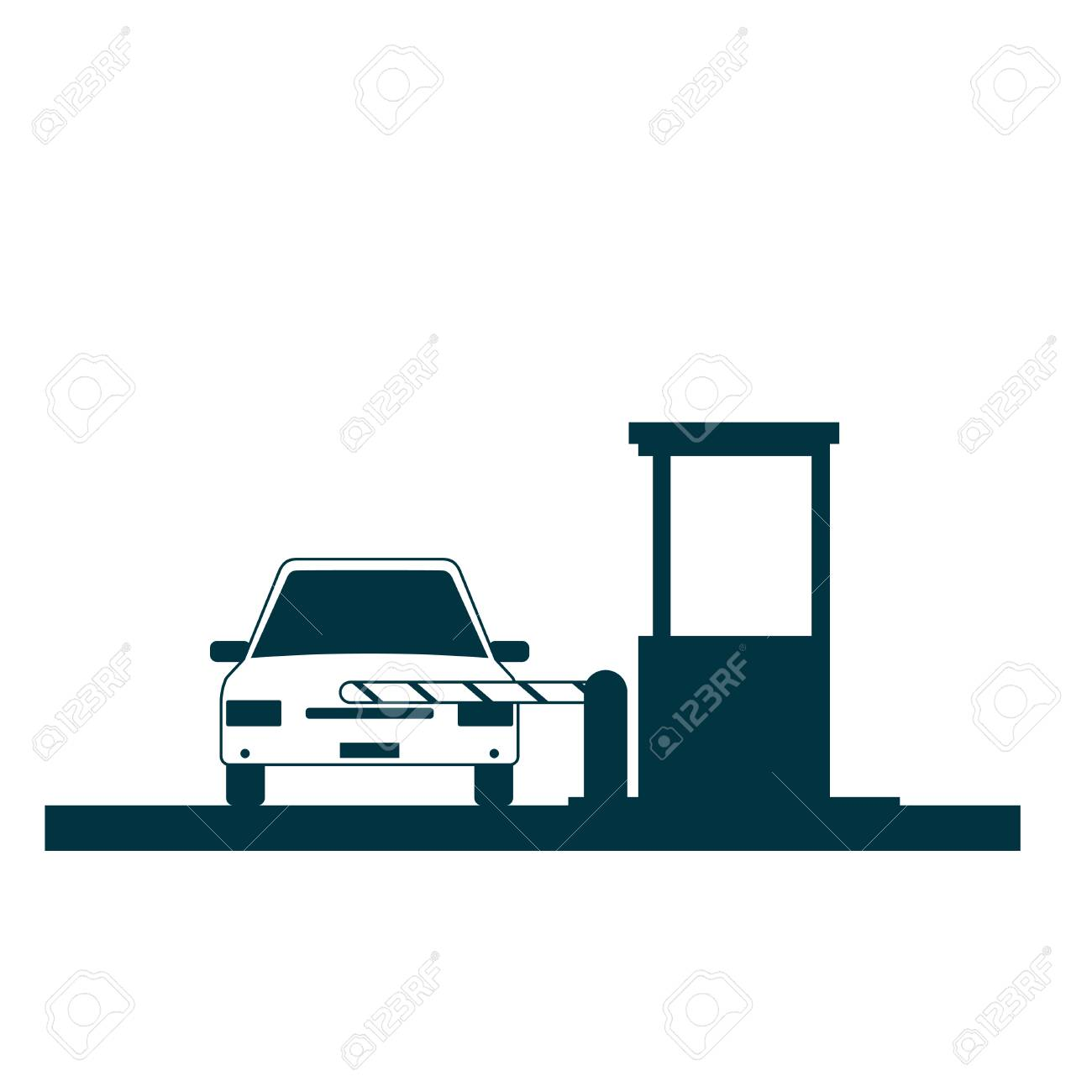 Toll booth icon with car isolated on white - 91449403