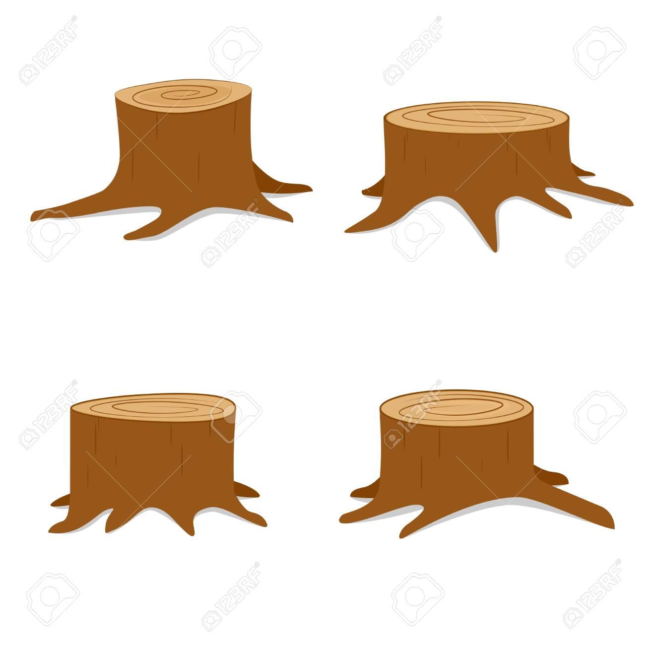Tree stump set. Vector illustration isolated on white background - 92684411
