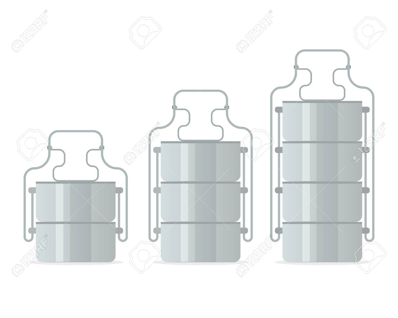 Tiffin food carrier icon set. Vector illustration isolated on white background. - 92684254