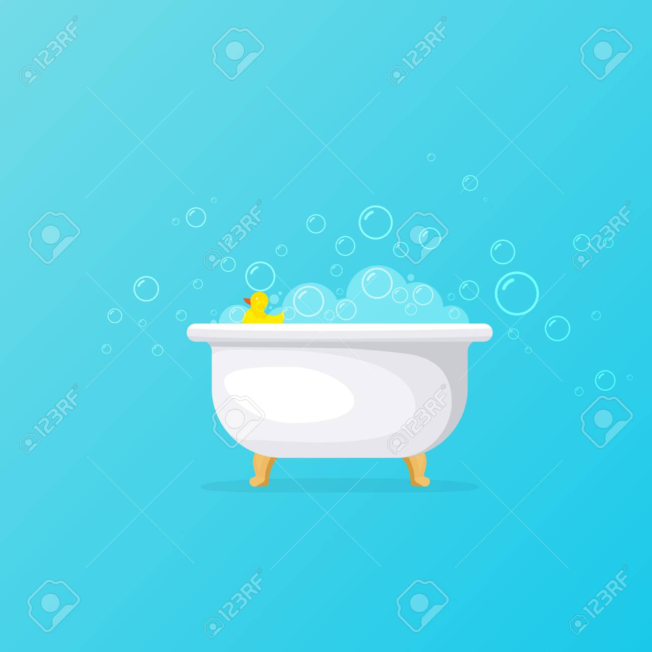 Bathtub With Foam Bubbles And Yellow Rubber Duck Royalty Free ...
