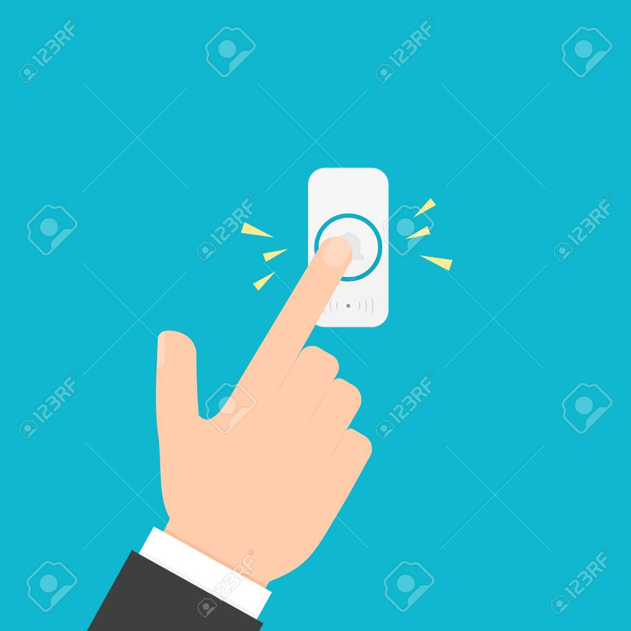 Hand pressing doorbell button - 100720149