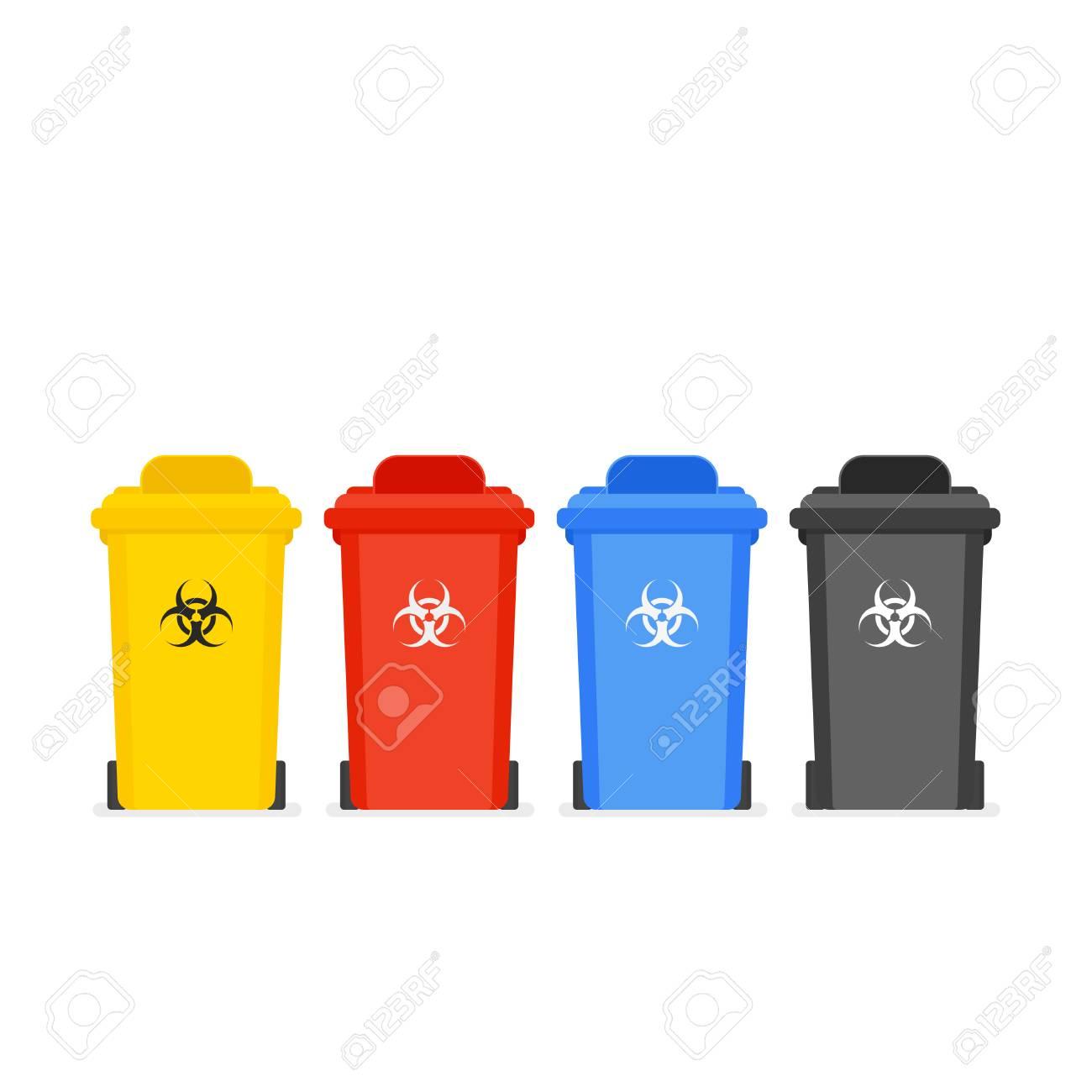 Medical waste bin icon set - 100720176