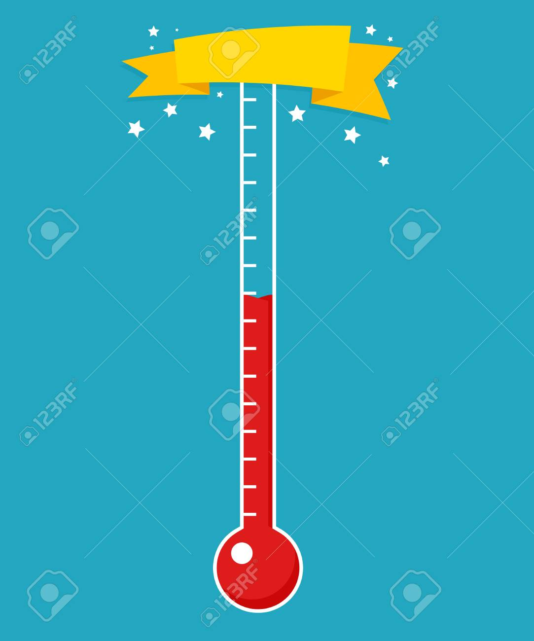 Fundraising thermometer template isolated on a blue background - 104890474