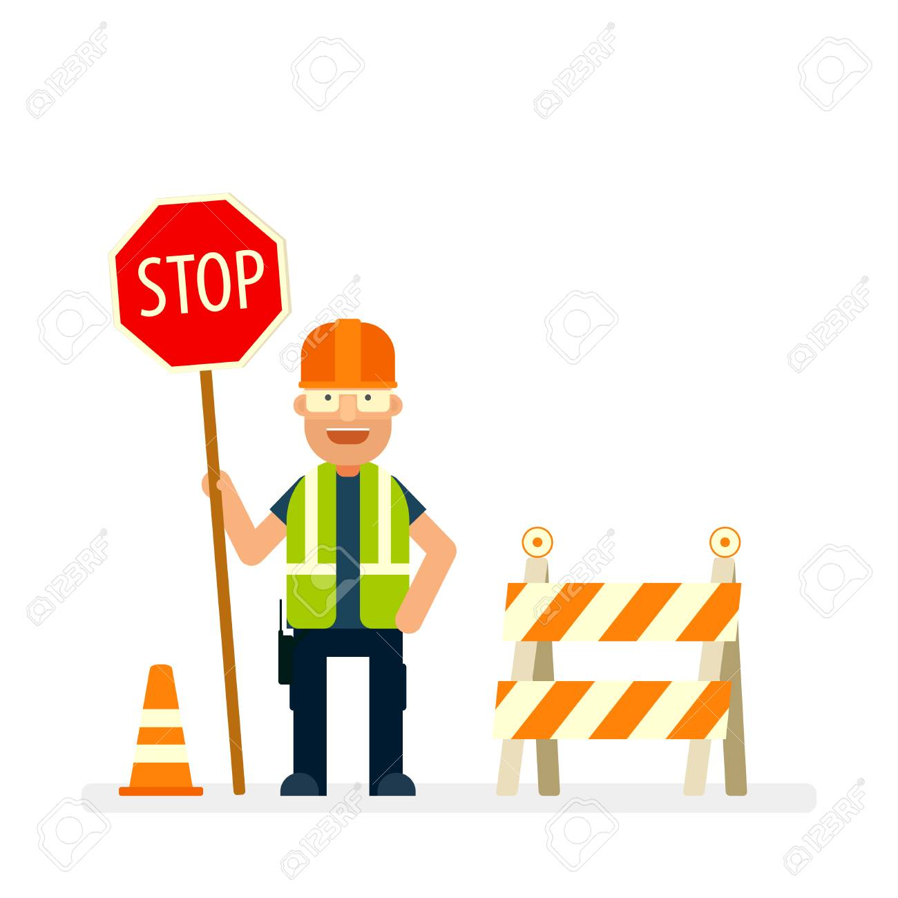 Road worker holding stop sign. Flat character. - 103506614
