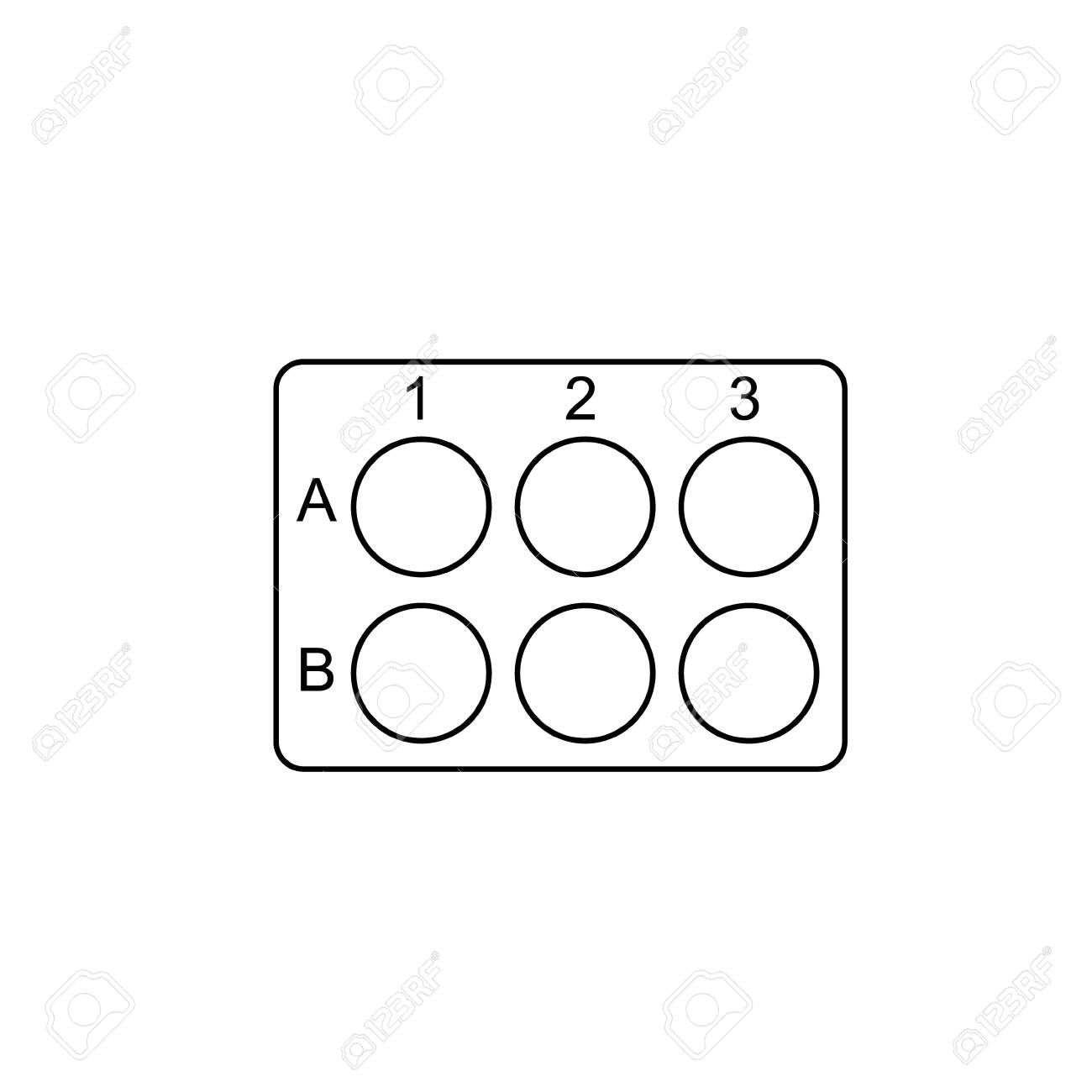 6 Well plate outline icon. Clipart image isolated on white background - 152540059
