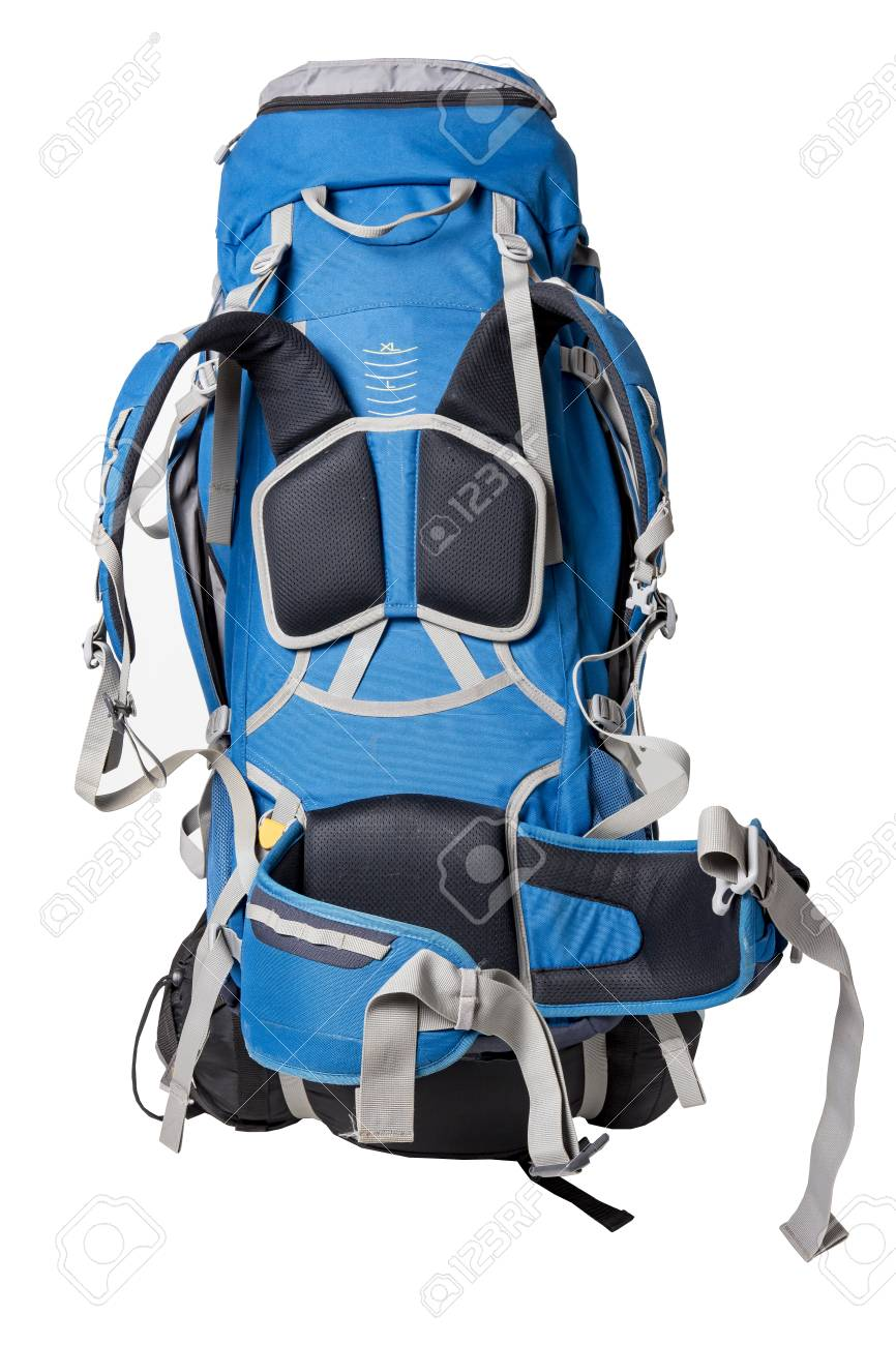 a3e63744561 Back view of professional backpack for hiking in wild. Trekking rucksack  with sleeping bag attached