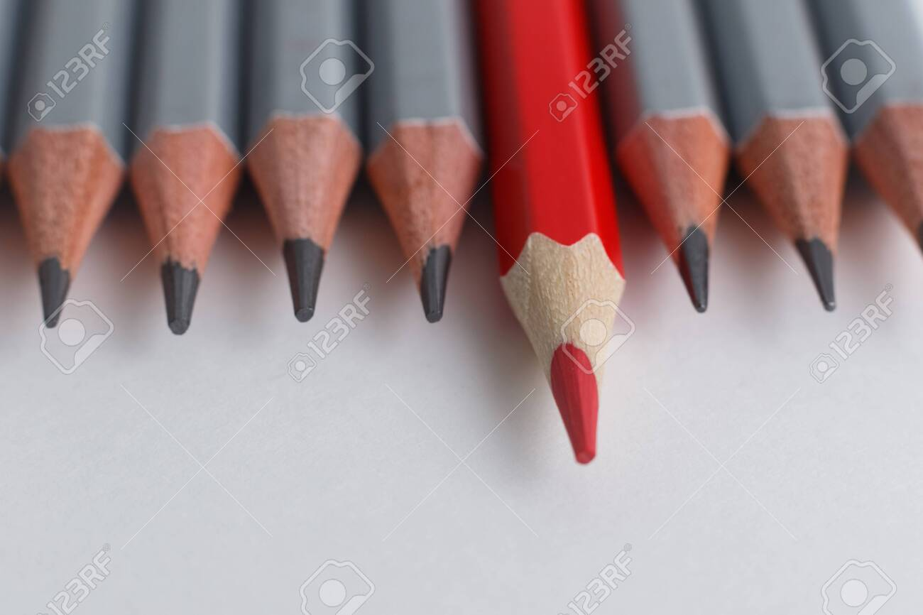 red pencil and gray pencils on a white paper background leader stock photo picture and royalty free image image 146079693