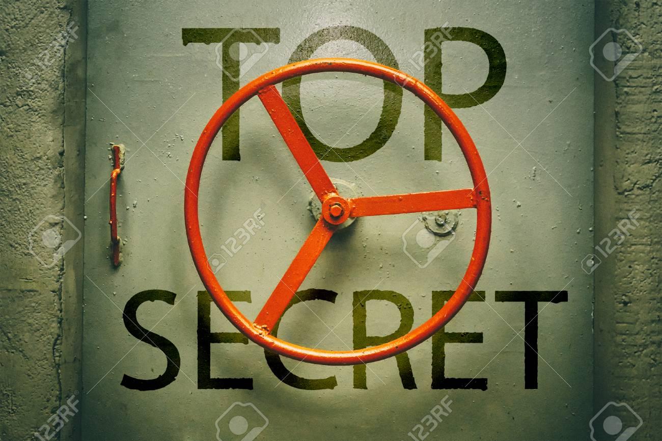 Top secret inscription on the of hermetic door - 88647121
