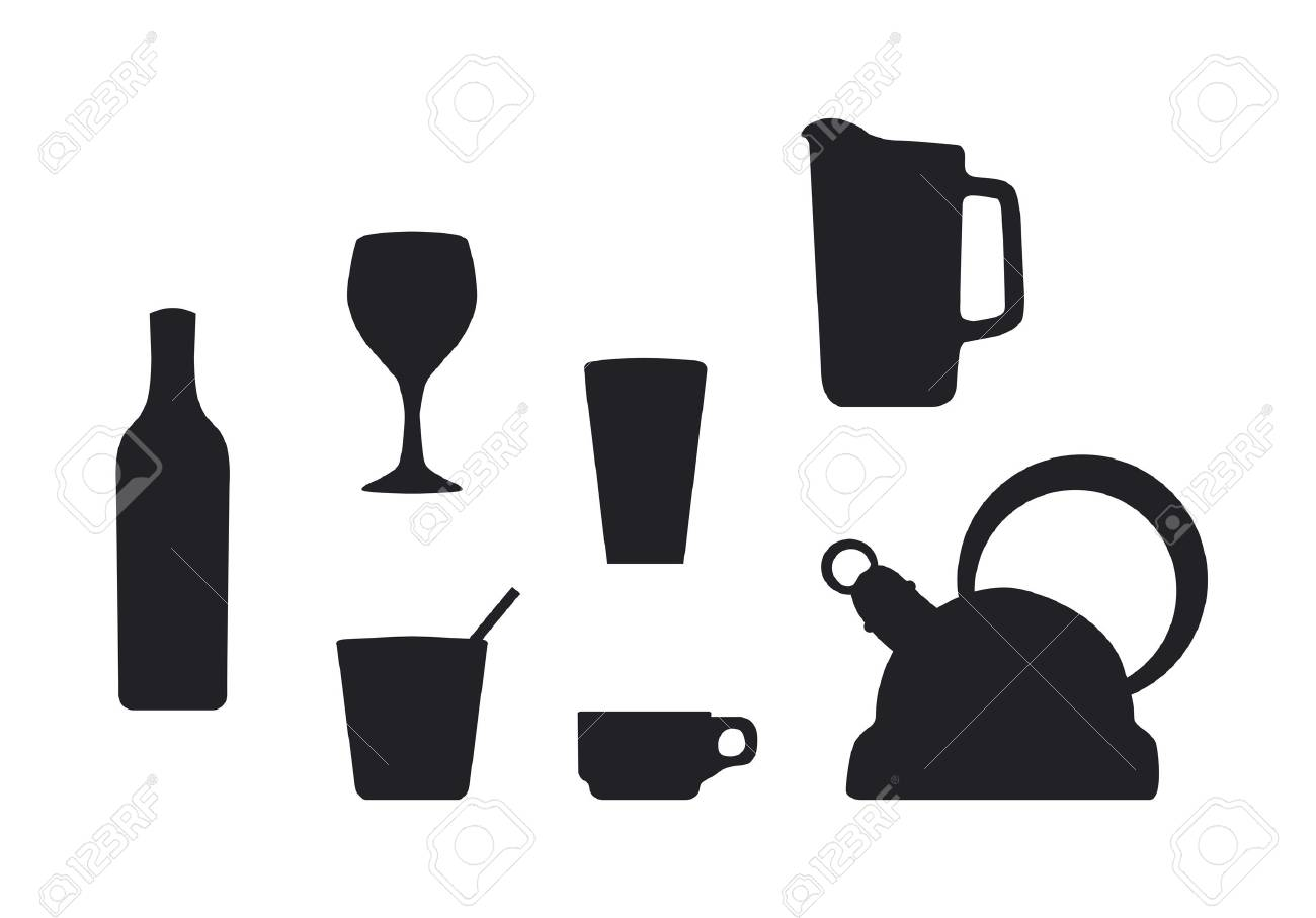 Beverage container silhouettes Stock Vector - 11649432