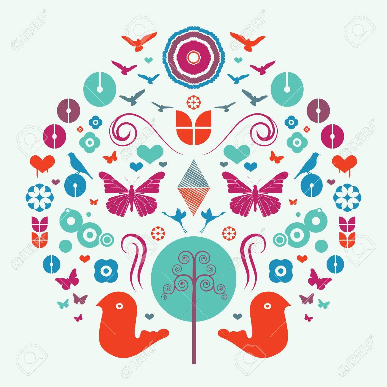 さまざまな動物のカラフルな抽象的なデザインのイラスト. ロイヤリティ
