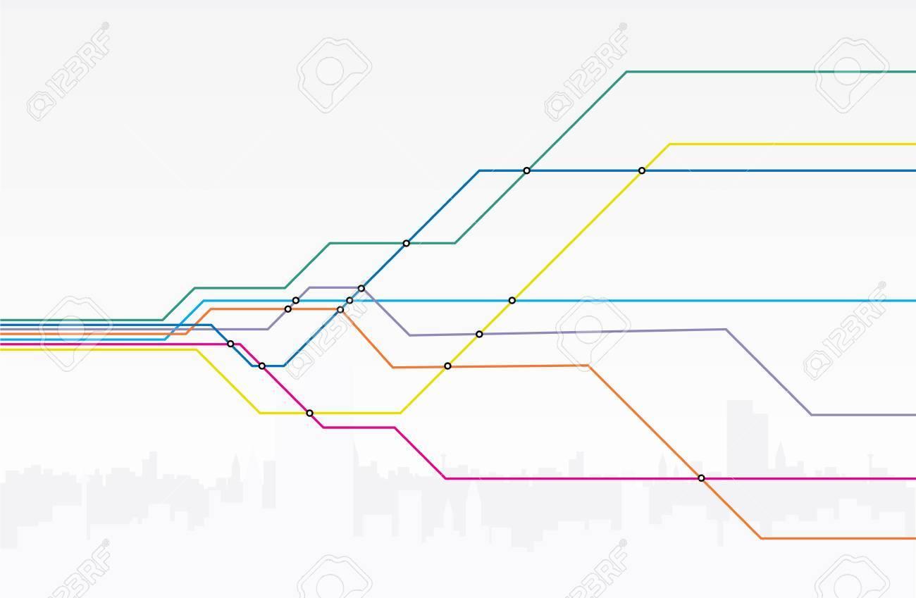 カラフルな地下鉄路線図のイラスト素材ベクタ Image 33313768
