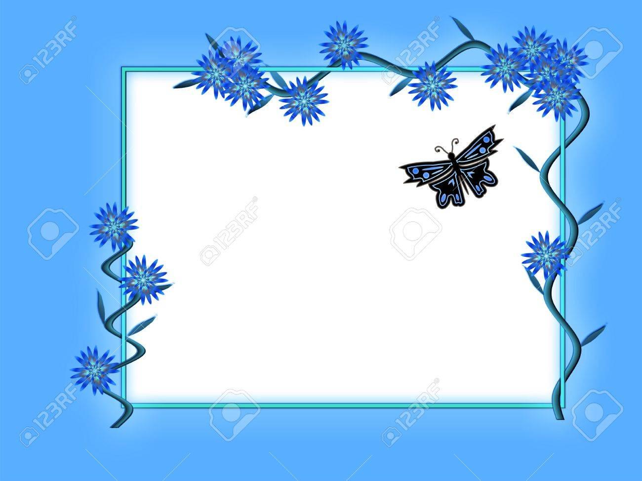 Marco Del Resorte En Tono Azul Con Flores Y Mariposas Fotos ...