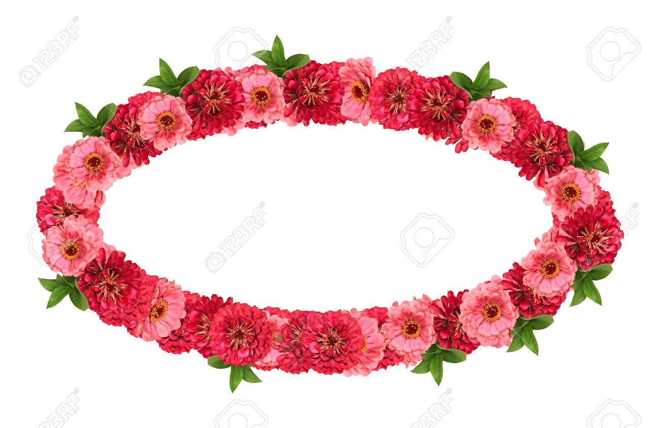 Oval Frame With Red And Pink Flowers Isolated On White Background