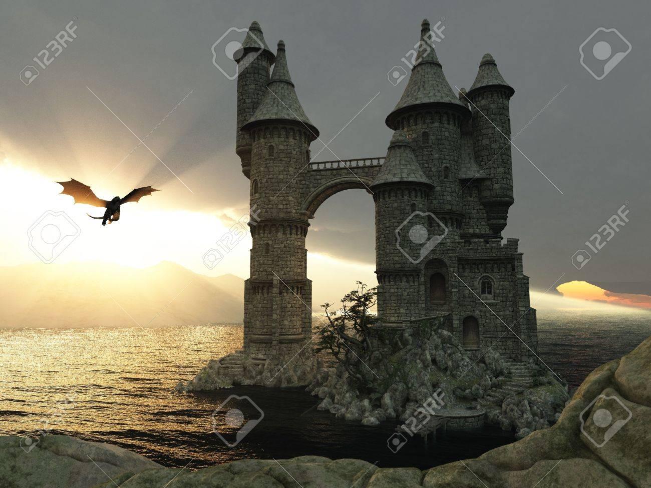 おとぎ話の城と飛龍 3 D イラスト ファンタジー風景 の写真素材 画像素材 Image