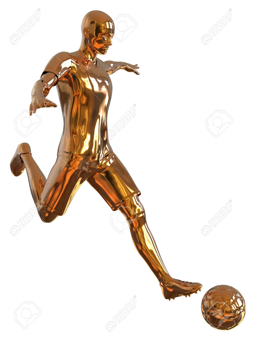 172476f3c4 3D illustration soccer football player of gold isolated on white Stock  Illustration - 98956027