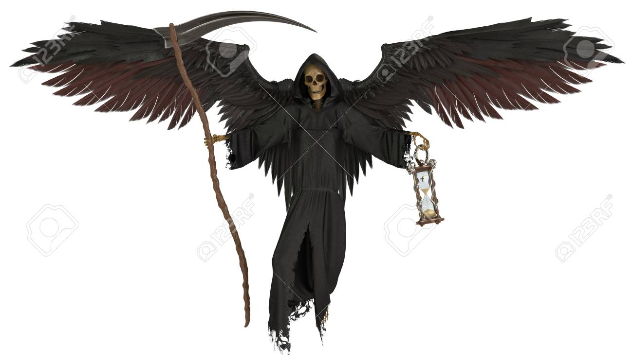 Angel of death isolated on white background 3d illustration stock illustration 109691857
