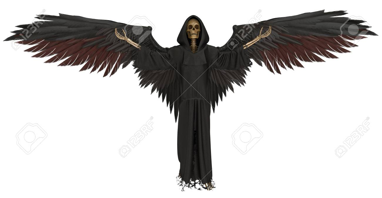 Angel of death isolated on white background 3d illustration stock illustration 109691870