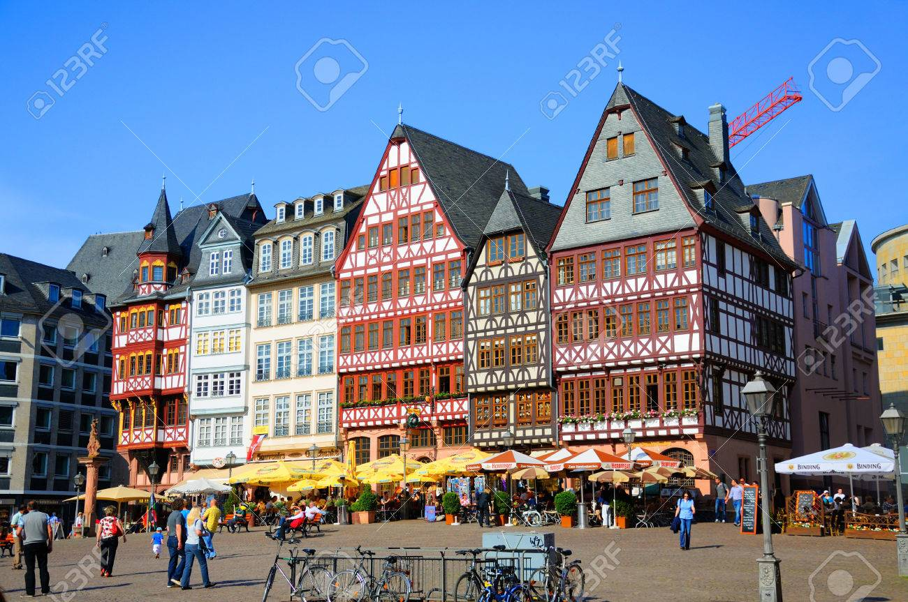 Romerberg romerplatz with old buildings frankfurt am main hessen germany stock