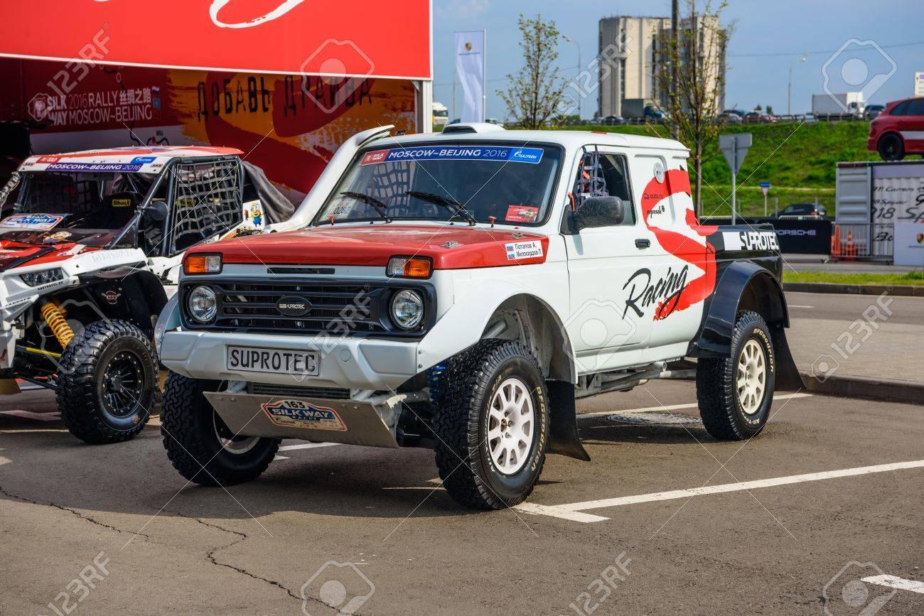 MOSCOW - AUG 2016: VAZ-2329 LADA 4x4 Pickup presented at MIAS