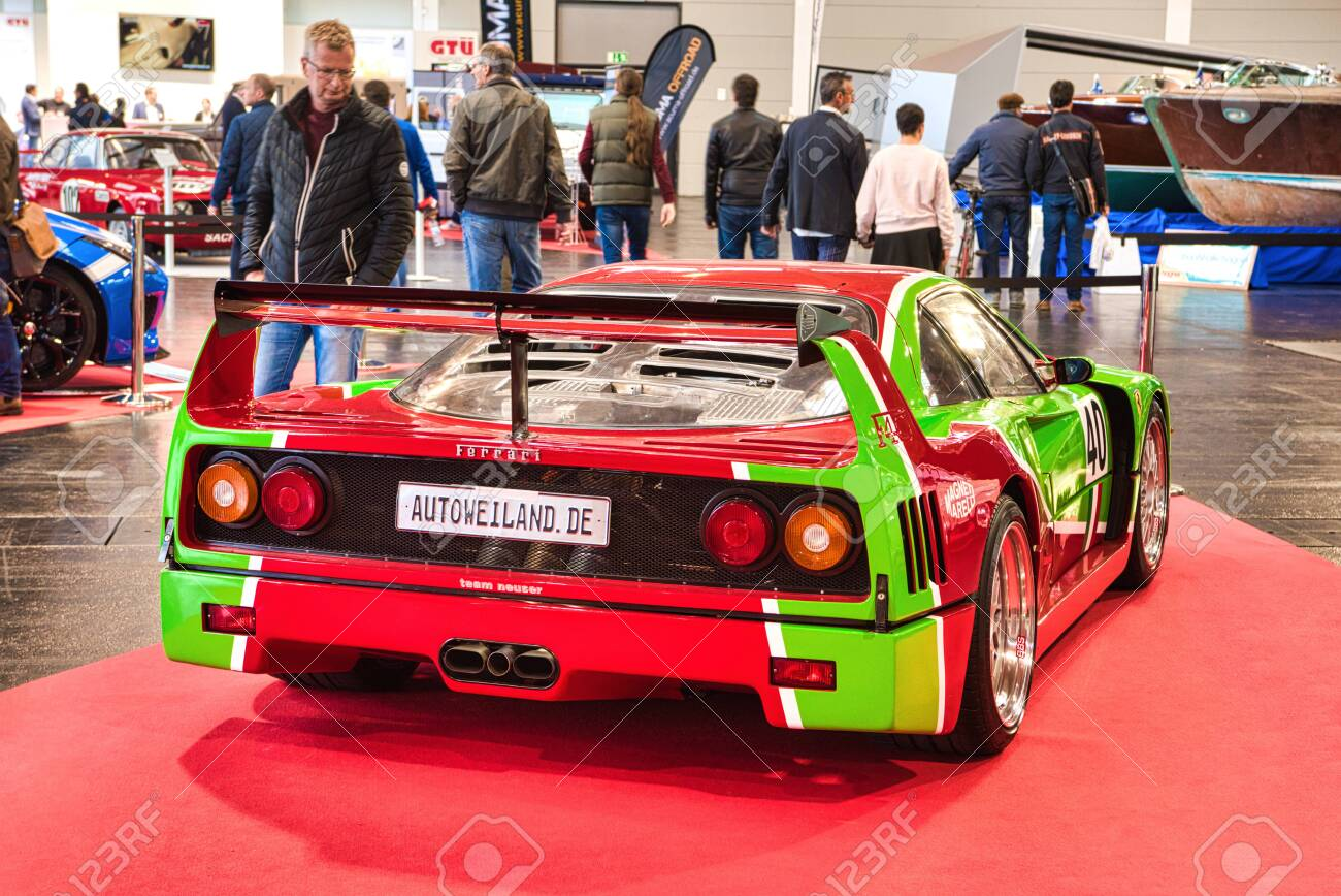 Friedrichshafen May 2019 Red Green Ferrari F40 1989 At Motorworld Stock Photo Picture And Royalty Free Image Image 142491193