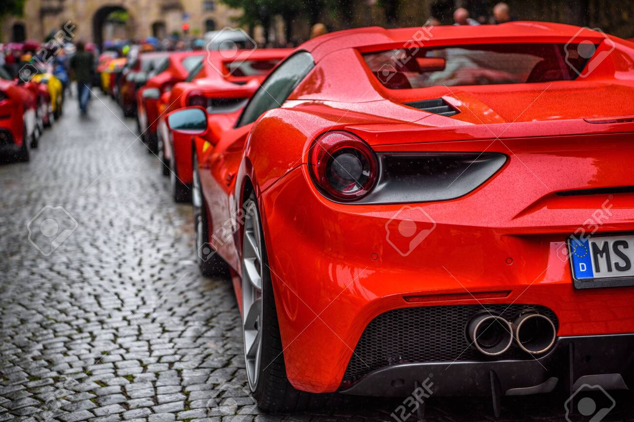 Germany Fulda Jul 2019 Rearview Lights Of Red Ferrari 488 Stock Photo Picture And Royalty Free Image Image 142491549