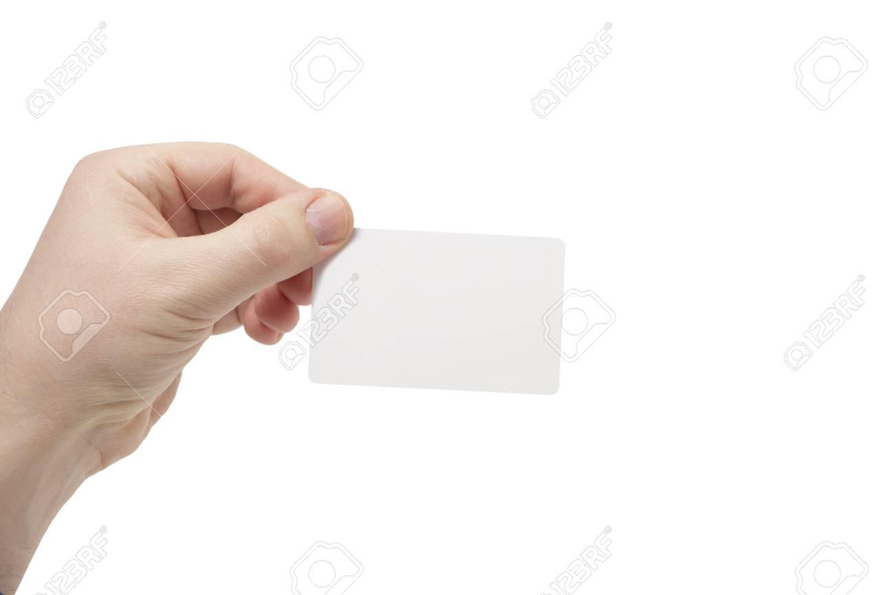 Jeune Homme Tenant Une Carte De Credit Ou Visite Blanc