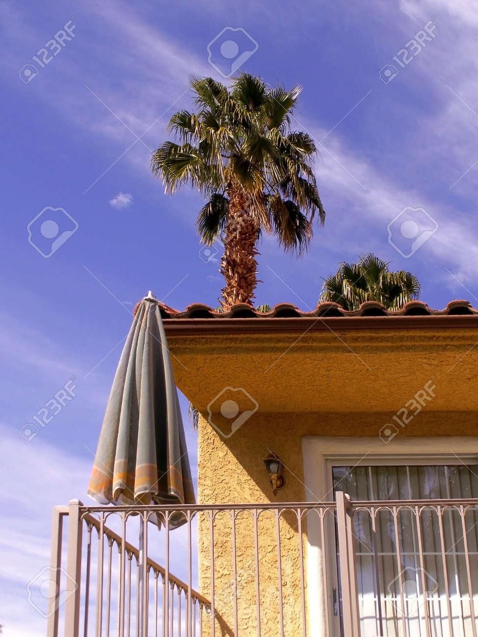 Tall Palm árbol Se Eleva Por Encima De Casa De Estilo Español Con Pequeña Terraza Y El Cuadro General