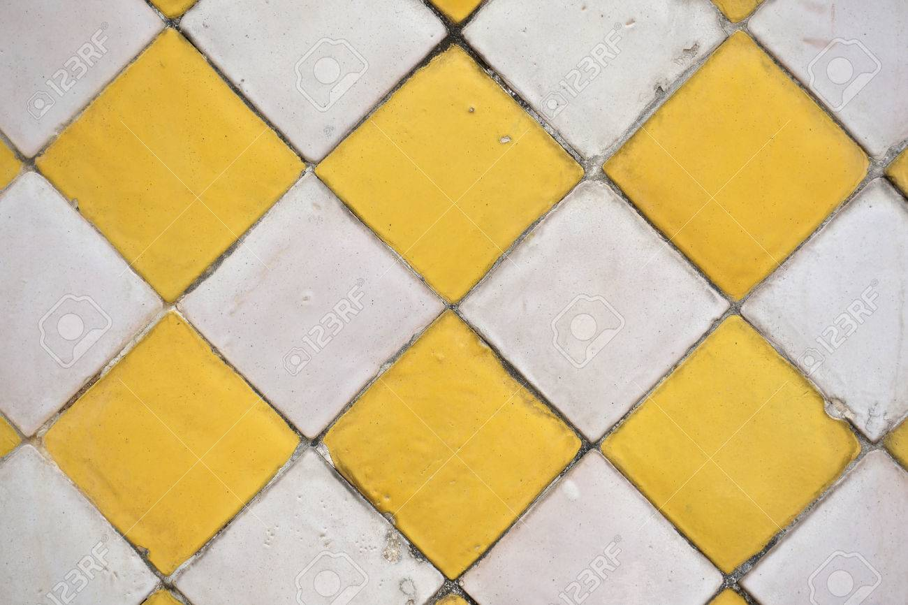 Old Ceramic Tile Have Colour Yellow And White Decor At Temple ...